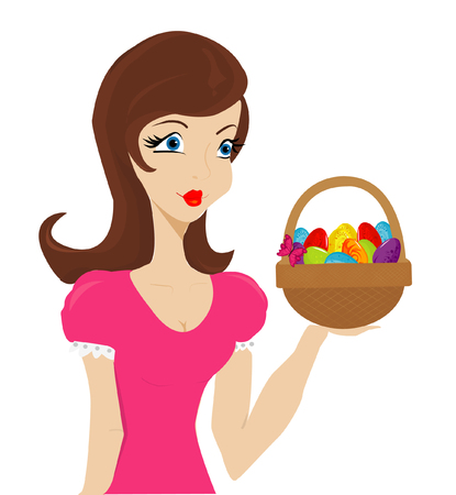 paschal: Beautiful girl with basket of paschal eggs. Happy easter. Vector art-illustration.
