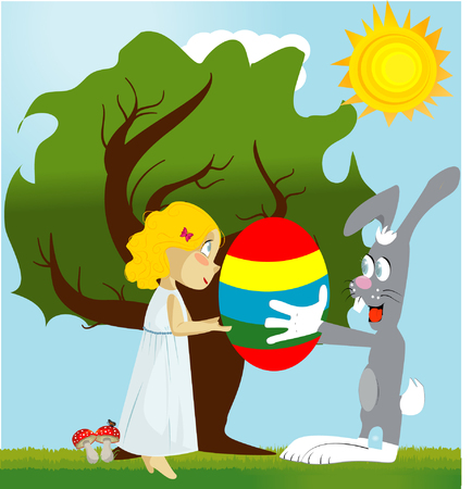 laying little: Easter bunny brought eggs for the girl