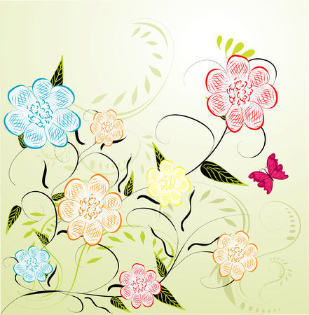 stock photo: Stock Photo: Abstract green floral background. Illustration
