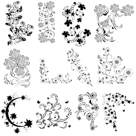 abstract flower: black and white flowers angle set