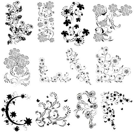 tatouage fleur: fleurs noires et blanches angle réglé