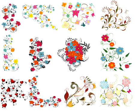 line design: Vintage colorful design elements set . With leafs and flowers.