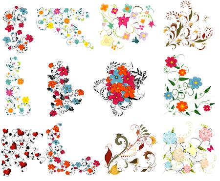 Weinlese-bunte Design-Elemente gesetzt. Mit Blättern und Blüten.
