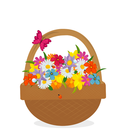 bast basket: flower in basket Illustration