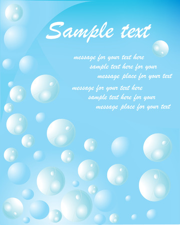 wetness: Blue water with bubbles vector illustration