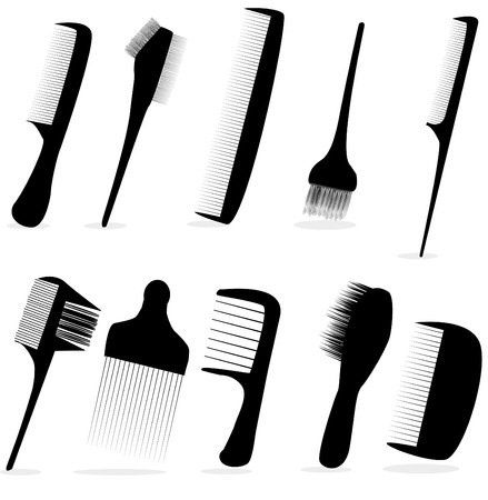 hair clippers: collection beauty hair salon or barber comb vector illustration