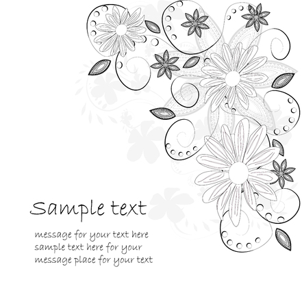 linework: floral background, greeting card Illustration