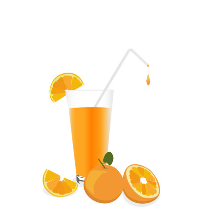 dewy: Fresh Orange juice and fruit, isolated on white background