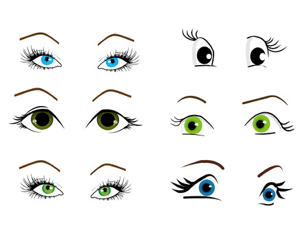 brown: Woman eyes collection, vector illustration
