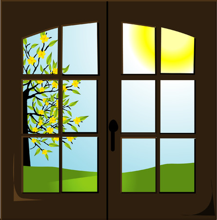 open window: Open window with a spring landscape Illustration