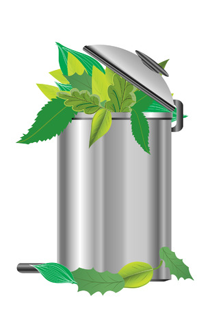 recycling bin: recycling bin with green leaves Illustration
