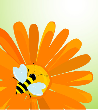 sun flowers: Vector background with flowers and bees