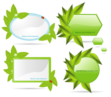declare: Set banners with leaf. Vector Illustration