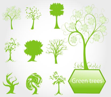 green eco: eco green trees, symbols of nature protection Illustration