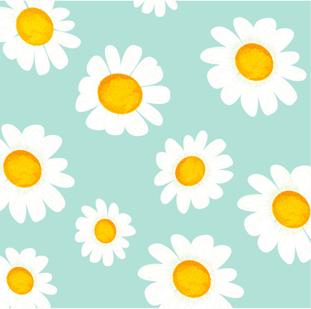 chamomiles: vector floral light blue pattern with chamomiles
