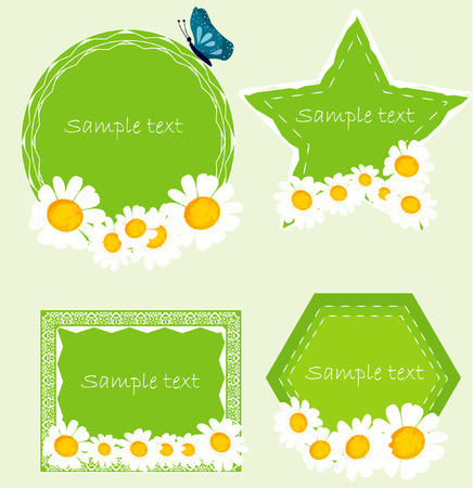 declare: Set banners with camomille. Vector