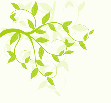 corner design: Abstract vector green leaves floral background.