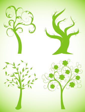 nature protection: eco green trees, symbols of nature protection Illustration