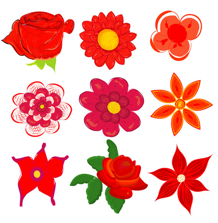 daisywheel: set of red flower graphics vector