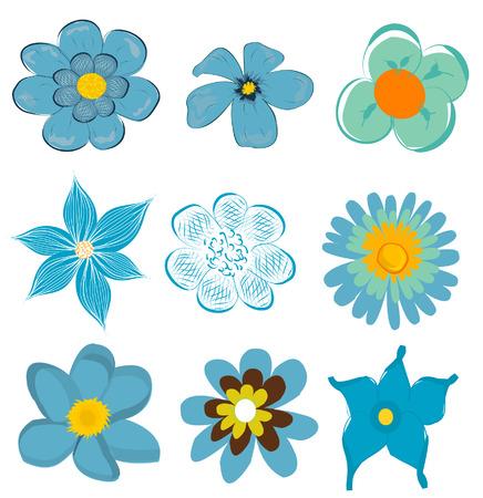 set of blue flower graphics vector
