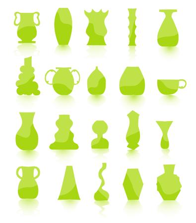 stoneware: green Flower pots vector