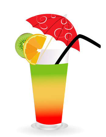 garnished: Tropical cocktail in glass isolated on white background with umbrella