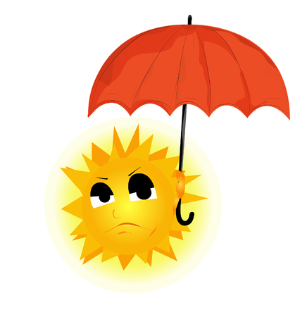 second hand: vector image of the sun, which keeps the umbrella and the second hand drives away the clouds