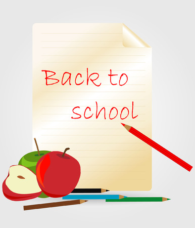 Paper with pencil and apple - back to school