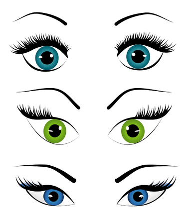 women face stare: Woman eyes collection, vector illustration