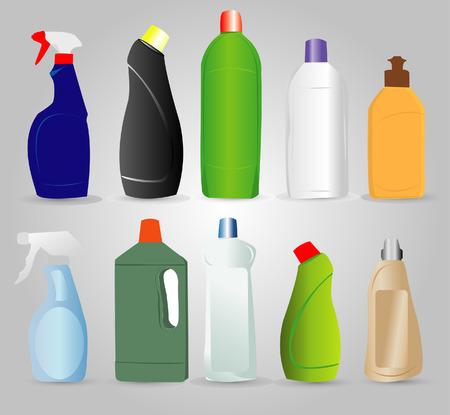 productos quimicos: Botellas de productos de limpieza  Vectores