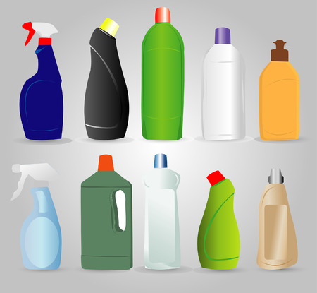 cleaning products: Bottles of cleaning products
