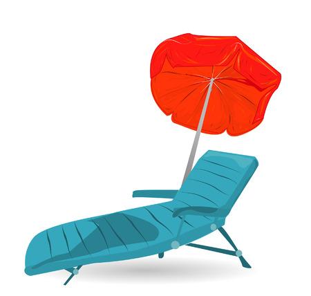 birds of paradise: Beach chairs and umbrella