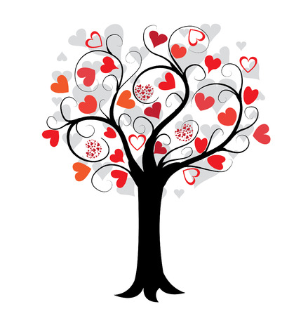 love tree: love tree with red hearts Illustration