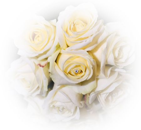 inset: bouquet of yellow roses inset with diamonte
