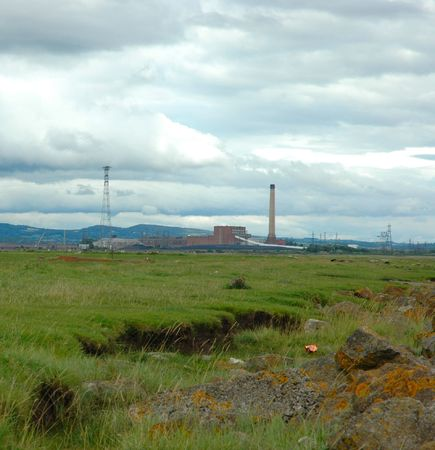 coal fired: coal fired power station produces electrcity