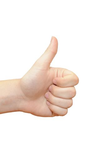 手ジェスチャー親指の分離白