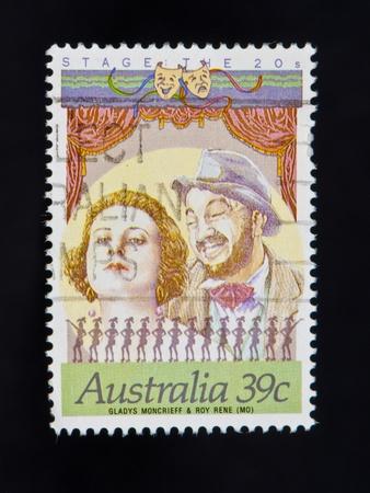AUSTRALIA circa 1900s-vintage stamp showing old silent movies circa 1900s