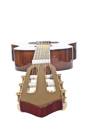 クリッピング パスの分離白ダウン首からアコースティック ギター