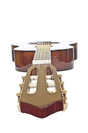 acoustic guitar from the neck down isolated on white with clipping path photo