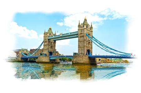 タワー橋ロンドンでテムズ川の反射 写真素材