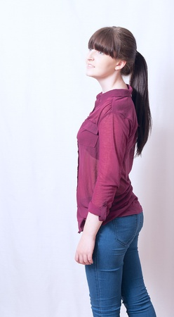 pony tail: Young Brunette Girl with Pony Tail