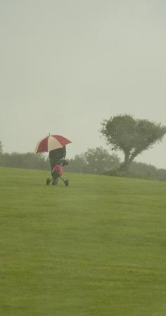 孤独なゴルファー歩行を傘で雨の中で次の t シャツに