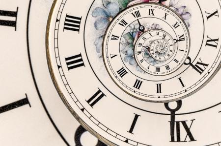 ローマ数字と時計の華やかな顔に渦巻き効果