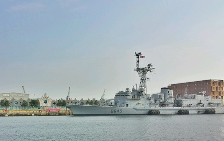 nato summit: French warship at Cardiff bay for NATO summit  September 2014