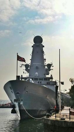 NATO サミット 2014 年 9 月のカーディフ湾に HMS ダンカン