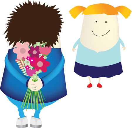 A character illustration of  boy surprising a girl with a bunch if flowers, vector illustration