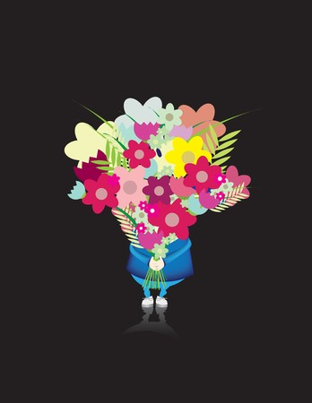 Character holding a huge bunch of flowers photo