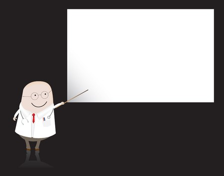 doctor pointing at blank board photo