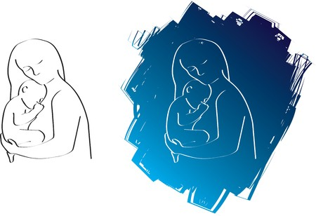 cuddle: A simple line silhouette drawing of a mother and child Stock Photo