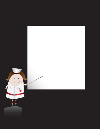 A classic nurse character points at a blank board Stock Photo - 4233927